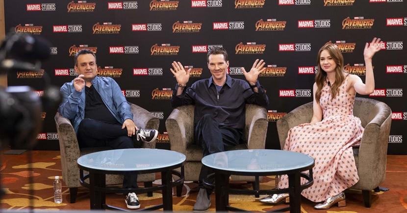 L-R: Director Joe Russo, Benedict Cumberbatch, and Karen Gillan